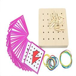Amyove Baby Montessori Graphics Rubber Tie Nails with Presch